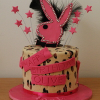 Playboy Bunny Leopard Print Cake Triple layer chocolate cake with chocolate icing and dark chocolate ganache.