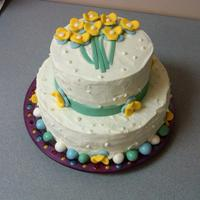 Spring Flowers Vanilla pound cake with lemon-lime BC and fondant decorations