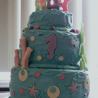 Under The Sea Cake This was my very first cake ever like this. I used all new recipes from a friend. It took me three straight days to do it. I look at the...