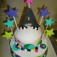 Circles And Stars Chocolate fudge cake with vanill BC icing and filling for a 10 yr old birthday party. She sketched her design and I worked right from it. I...