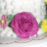 Basket Weave Cake With Flowers buttercream roses, royal icing flowers