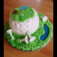 Golf Course Cake Buttercream with details on fondant