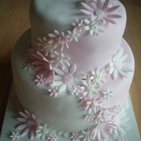 Pink And White Flowers Inspired by more than one cake I've seen on here and thanks to 'momsgoodies' for giving me some tips on a two colored cake...