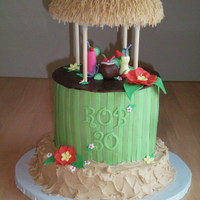 "Tiki Hut This cake was so much fun to make! It was styled after the party invitation. The base is one 10"" round covered in BC ""sand&quot..."