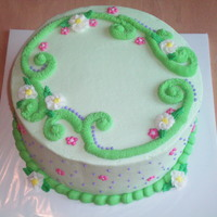Green With Flowers All buttercream. This picture is pre writing.