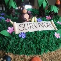 "Survivor Cake This cake went to a local Relay for Life and was served as dessert to cancer survivors. The theme of the event was ""Kicking Cancer off..."