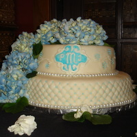 Hydrangea Wedding Cake A cake for my friend's wedding - she wanted quilting, beading, round, two layer, blue and white, with hydrangeas and a monogram....she...