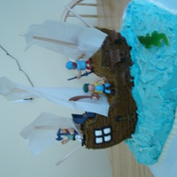 "Pirate Ship Cake This cake was so much fun to make...a real learning experience. The ""water"" is a chocolate sheet cake, while the ""pirate..."