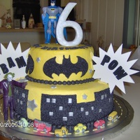 Batman Birthday Cake The cake is done in buttercream and the number 6 and pow and bam are made from fondant.
