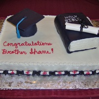 Seminary Graduation Everything on this cake is edible. The graduation cap top is fondant and the bottom of the cap is covered with fondant. The Bible is...