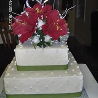 Elegant Simple Wedding Cake The icing is buttercream and the dots are royal icing. Green ribbon is around the bottom of each layer. I made the flower arrangement from...