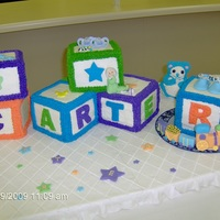 Baby Blocks Baby blocks with fondant decorations.
