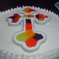 Cross fondant and melted candy