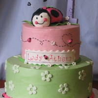 Lady Bug 1St Birthday all cake and buttercream, with fondant accents.