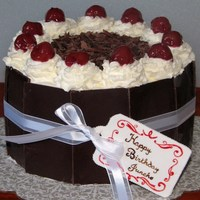"Black Forest Cake 6"" black forest cake wrapped in chocolate"