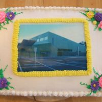 New Building Edible Image This was made for our church's celebration of a new building. This is my first time using an edible image. Iced in buttercream with...