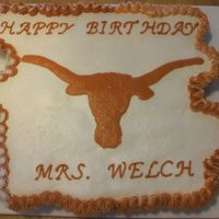 Texas Longhorns Cupcake Cake Buttercream frosting on a cupcake cake. I outlined the longhorn, then filled it in and smoothed it out. It's for a teachers birthday...