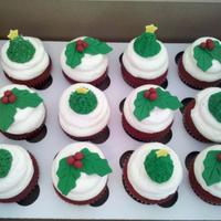 Holiday Cupcakes Southern Red Velvet frosted in Cream Cheese