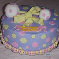 Baby Rattle Cake A baby shower cake I made for my cousin. The rattle was RKT, my first attempt at doing anything in RKT.