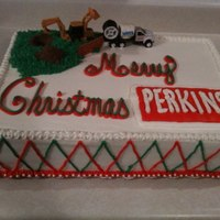 Christmas Cake For Perkins Contractors This cake was made for the Perkins company Christmas party. Half chocolate with chocolate mousse, half white with fresh strawberries. All...