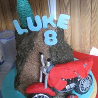 Dirt Bike Cake Cake hill and track made of cake, trail is cracker and cookie crumbs crushed. Dirt bike is RKT and covered in fondant.