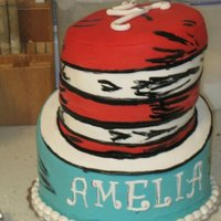 Cat In The Hat Cake Topsy turvy style covered in fondant. Hand painted details.