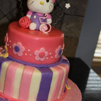 Hello Kitty Girls Birthday Cake Made for a little girl turning 5. She wanted a pink and purple Hello Kitty cake. She also mentioned she like butterflies. Inspired by a few...