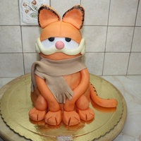 Garfield 3D Choholate-cookie filing and covered with fondant.I have maäe a lot of birhday cakes (75 different designs),but this is my favorite...