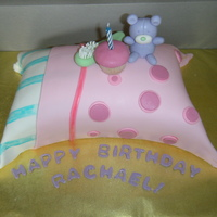 Pillow Cake WASC with strawberry buttercream. Made for my friends daughter who was having a slumber party and so I copied the picture on the invite....