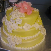 Sweet 16 Chocolate cake covered in yellow fondant...standard vanilla buttercream...accented with fondant flowers :)