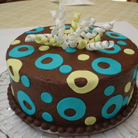 Party Cake Fondant decorations on chocolate BC.