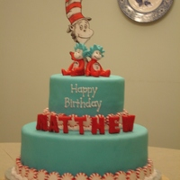Dr. Seuss Birthday Cat in the Hat theme cake for a 4-year-old's Dr. Seuss birthday party. Letters and characters are fondant, with peppermints as border...