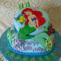 Mermaid Ariel. cake make with fondant, all edible........