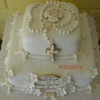 First Communion vanilla cake decorated in fondant and gum paste