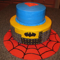 Superhero Cake Superhero cake - Superman, Batman and Spiderman. WASC with vanilla mousse, buttercream frosting and fondant accents. Inspired by the many...