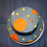 Outer Space Cake Outer space cake for my son's 4th birthday. Devil's food cake, chocolate mousse and chocolate ganache. Covered in MMF and MMF...