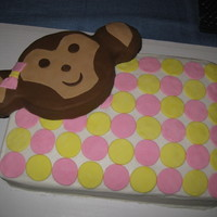 Polka Dot Monkey Face French Vanilla cake with vanilla mousse. Fondant Monkey and accents. This was the first cake that I carved and although it was pretty basic...