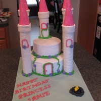 "Castle Cake Princess castle cake. 8"" and 6"" rounds, buttercream with cobblestone impression mat. Turrets were cardboard tubes covered with..."