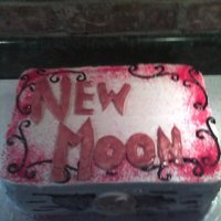Twilight Sega: New Moon Two layer white cake w/ buttercream icing. Made this for my New Moon Party I had when the dvd came out.