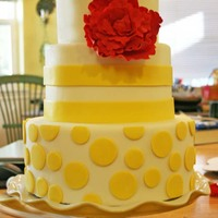Emily's Cake A cake for my nephew and his bride. The cake is covered in MMF with a gumpaste/fondant flower and fondant/modeling chocolate yellow...