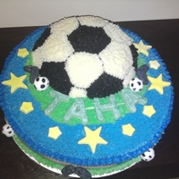 Soccer Ball Theme this cake design was choosen by the customer, chocolate cake with chocolate ganache all over.