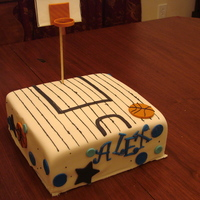 Basketball Court Cake 1St And Last Attempt At Square Cake. I had a hard time with this one. Royal Icing stripes, gumpaste board and rim. Fondant basketballs.