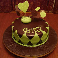 My 5Th Fondant Cake April 2009 1St Fondant Covered Cake Board. Dark chocolate fondant, leaf green gumpaste hearts, impression mat for cake board. Happy Birthday stamp.