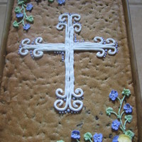 Funeral Cookie Cake Cookie Cake with royal icing flowers