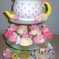 Teapot & Tea Cups Cake design inspired by cakes & sugarcraft magazine UK, strawberry & white chocolate mudcake teapot. Chocolate fudge cupcakes with...