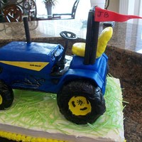 Tractor   made this from sheet cakes tires are bagels covered in fondant. Grass is from michael's easter grass that you can eat!
