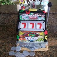 3-D Slot Machine  I used 4 11x15 cake cut in half I did alot of carving and used r/k for the coin slot I did cover it with fondant . This is the 1st time I...