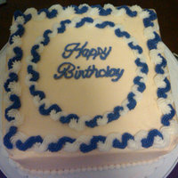 Simple Birthday All buttercream frosting, rope boarders to highlight border and text