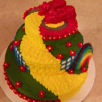 "For The Wonderful Ms. Logan This is a 3 layer cake 10"", 8"", 6"". I incorporated Dorothy's dress concept to break up the green. The shoes are carved..."