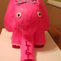 Lily's Pink Elephant The legs, ears and trunk are made from rice krispy treats and the head and body are cake.